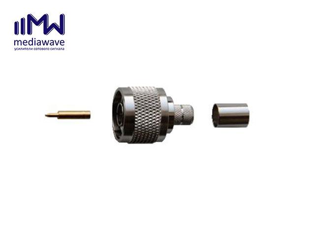 MediaWave MW-J-N8M - Разъем N-311/8D, N-типа, вилка, для кабеля 8D-FB, обжимной