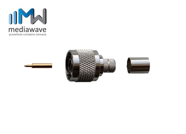 Разъем N-типа, вилка, для кабеля 8D-FB, обжимной - MediaWave MW-J-N8M